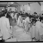 Foreman of the sewing machine section Sumiko Shigematsu watching work in action. (Library of Congress, Prints & Photographs Division)