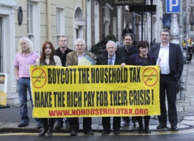 File: TDs (LtoR) front- Clare Daly, Joe Higgins, Seamus Healy, Joan Collins, Mick Wallace, Richard Boyd Barrett, Luke Flanagan and Thomas Pringle at the launch of www.nohouseholdtax.org