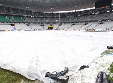 Covers on the pitch at the Stade de France (file photo).