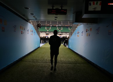 Ronan O'Gara heads down the tunnel onto the Stade de France pitch.