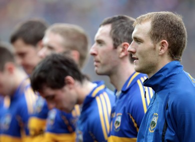 Lar Corbett (far right) with his Tipperary team-mates ahead of last year's All-Ireland senior hurling championship final.