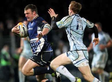 Leinster's Nathan White (left) holds off Dan Fish of Cardiff during a Pro12 game in December.