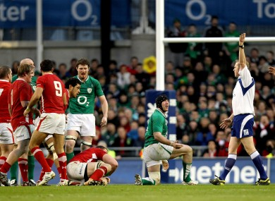 Wayne Barnes (far right) signals for a penalty against Stephen Ferris in the final minute.