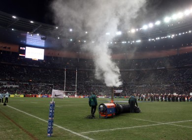 Last-minute efforts to heat the Stade de France pitch on Saturday were unsuccessful.