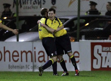Karl Moore (right) celebrates his goal with Bohs captain Owen Heary.