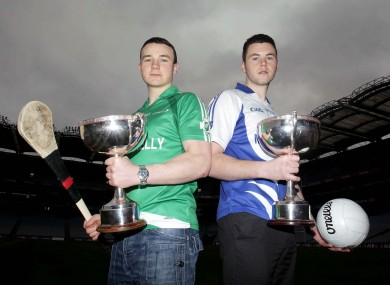 Leinster's Liam Rushe and Donie Shine of Connacht at today's launch of the Interprovincial Series in Croke Park.