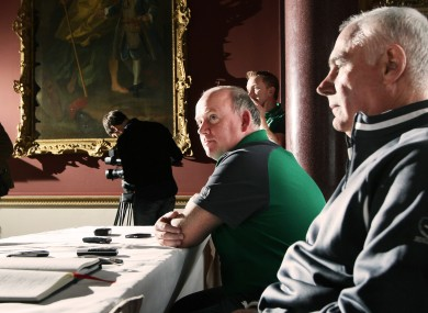 Declan Kidney and manager Michael Kearney field questions at Carton House yesterday.