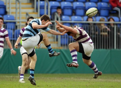 Max McFarland of Clongowes Wood College and Castleknock College's Mark Bennett at Donnybrook yesterday.