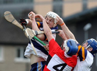 Liam Rushe wins a high ball during yesterday's Fitzgibbon Cup match against UCC.
