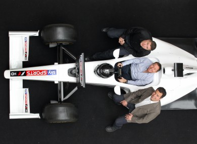 David Croft, Martin Brundle and Ted Kravitz pictured in Dublin yesterday at the launch of Sky's new F1 channel.