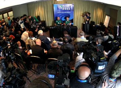 The Ireland rugby press conference this week.