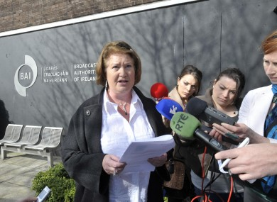 Gallagher's solicitor Pamela Cassidy speaking to the media today at the Broadcast Authorty of Ireland offices