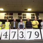 Protesters stand beside the number of people that they say wont pay the charge. (Leon Farrell/Photocall Ireland)