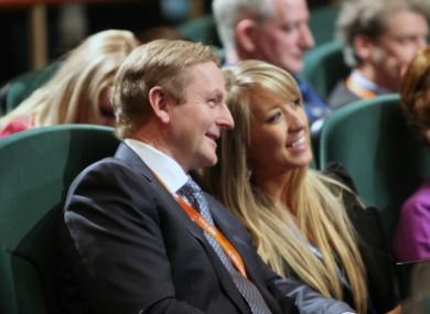 Enda Kenny shares a joke with an attendee at the Fine Gael Árd-Fheis earlier today.