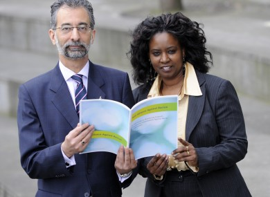 Imran Khan and Salome Mbugua launch the conference on racism in Dublin yesterday.