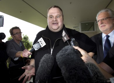 Kim Dotcom, the founder of the file-sharing website Megaupload, comments after he was granted bail and released on Wednesday, Feb. 22, 2012, in Auckland, New Zealand