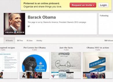 Obama's Pinterest page.