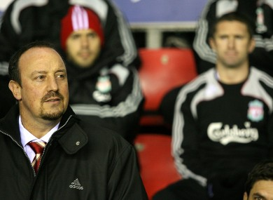 Benitez with Robbie Keane in the background during his unsuccessful spell at Liverpool.