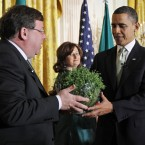 And on his last St Patrick's Day in office, Cowen headed back to the White House with the traditional bowl of shamrock. (AP Photo/Alex Brandon/PA Images)