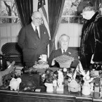 Though this does not capture a presidential shamrock reception event, this St Patrick's Day 1941 photo shows President Franklin D Roosevelt and his wife Eleanor looking at two wedding anniversary gifts: a potted shamrock plant and an Irish potato. It was their 36th anniversary of their wedding. We think Mrs Roosevelt's face says it all, really. (AP Photo/PA Images)