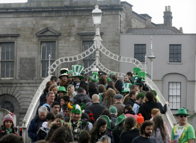Revellers in Dublin on St Patrick's Day last year.
