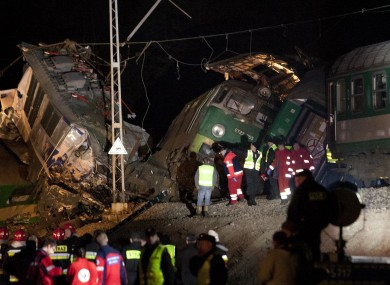Rescue workers at the scene after the crash