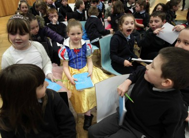 Boys and girls from St. Audeon's National School, Dublin 8, celebrating World Book Day
