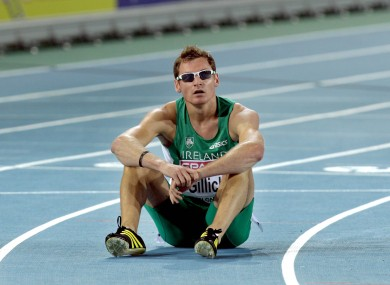 David Gillick sits on the track and contemplates his fifth-place finish at the 2010 European Championships.