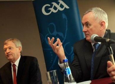 GAA Director General Paraic Duffy, left, and GAA President Christy Cooney.