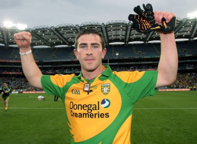The forward celebrating Donegal's win over Kildare in the All-Ireland quarter-final last year.