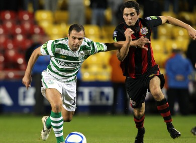Hoops midfielder Chris Turner and Stephen Traynor of Bohs.