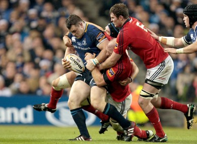 Cian Healy attempts to escape from Niall Ronan, Paul O'Connell and Donncha Ryan.