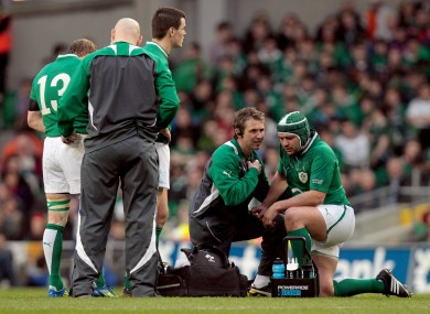 Rory Best is treated by Ireland physio Cameron Steele on Saturday.