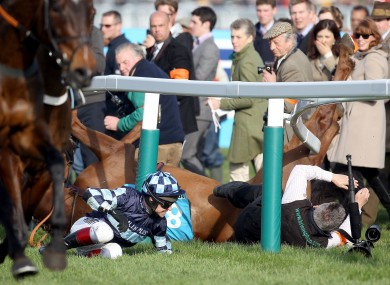 Richard Johnson and Wishfull Thinking fall at the first.