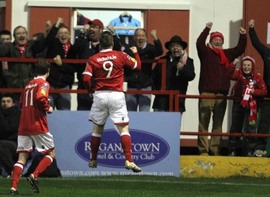 Philip Hughes celebrates the winning goal at Tolka Park.