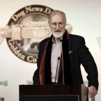Actor James Cromwell from the film speaks at the first annual Golden Collar Awards in Los Angeles. The Golden Collar awards recognise the work of dogs in film and television (he was accepting it for the dog in The Artist). (Matt Sayles/AP/Press Association Images)<span class=