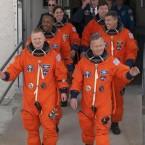 Discovery's last crew prepare to board the shuttle for its final flight in February 2011. (Image: NASA/Kim Shiflett)