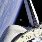 Looking at the moon from Discovery in 1998. (Image: NASA)