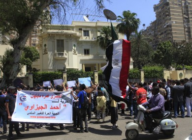 Egyptian protesters demonstrate in front of the Saudi Embassy in Cairo