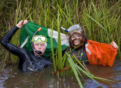 An Irish contingent at the World Bog-Snorkelling Championships in Llanwyrtd Wells in 2006 - the Welsh town will host an alternative to the Olympics this summer.