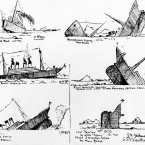 Drawings made by a survivor, on an overturned collapsible boat, as the Titanic was sinking. (Topham/Topham Picturepoint/PA Images)