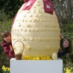 Not a fan of chocolate? Then you would have loved this cheese egg. Pictured are 13-year-old Rudi Jurkschat (left) and his 11-year-old sister Natasha next to a giant Cathedral City 'Cheester Chegg', as Cathedral City announced a campaign to get 'Cheester Cheggs' (cheese Easter eggs) in store for Easter 2011. 