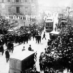A crowd gathers in front of the White Star Line office on New York City's Broadway, waiting for the latest news about Titanic survivors. (AP Photo)