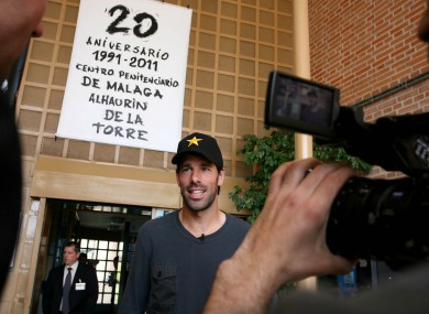 Ruud van Nistelrooy at the entrance to the prison in Malaga