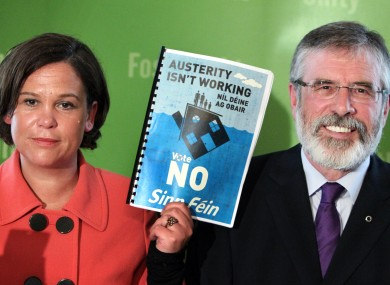 Sinn Féin deputy leader Mary Lou McDonald and leader Gerry Adams at the launch of the party's campaign against the Fiscal Compact treaty yesterday.