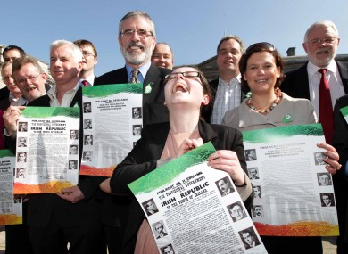 Gerry Adams leads Sinn Féin members in launching the Easter Lily campaign at Leinster House last week.