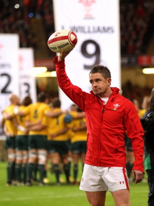 Shane Williams salutes the crowd at Millennium Stadium before his final appearance for Wales