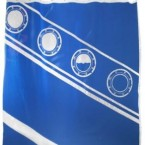 The design on this shower curtain purports to display the view from the Titanic's portholes as the ship went down; available on Amazon.
