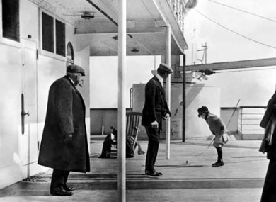 Still from video shows one of Browne's iconic photographs from the deck of the Titanic