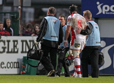 Stephen Ferris is helped off the pitch during Friday's win against Aironi.